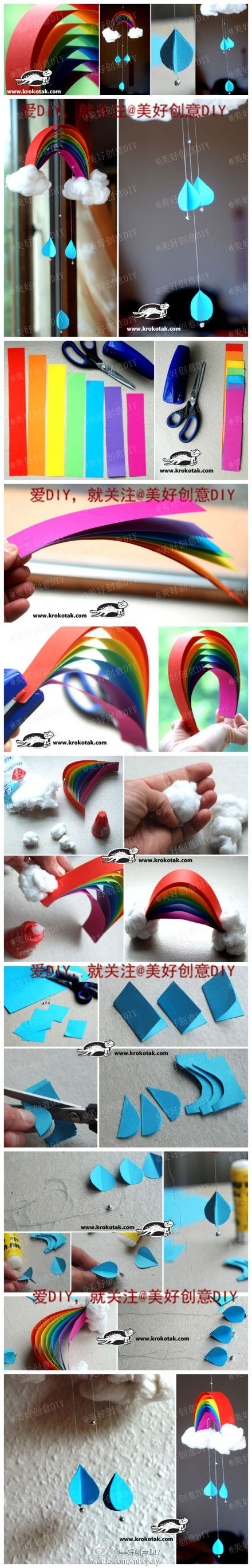 How to make Beautiful Rainbow Mobile step by step DIY tutorial instructions