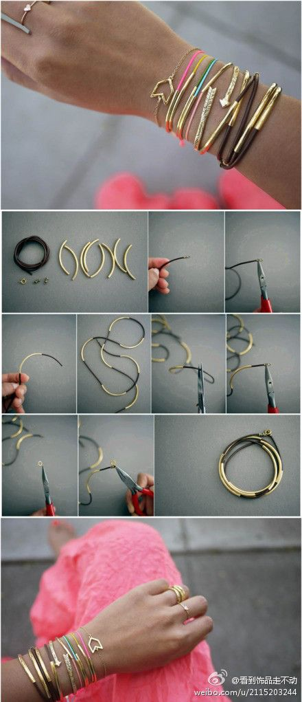How to make Beautiful Wire Bracelet step by step DIY tutorial instructions