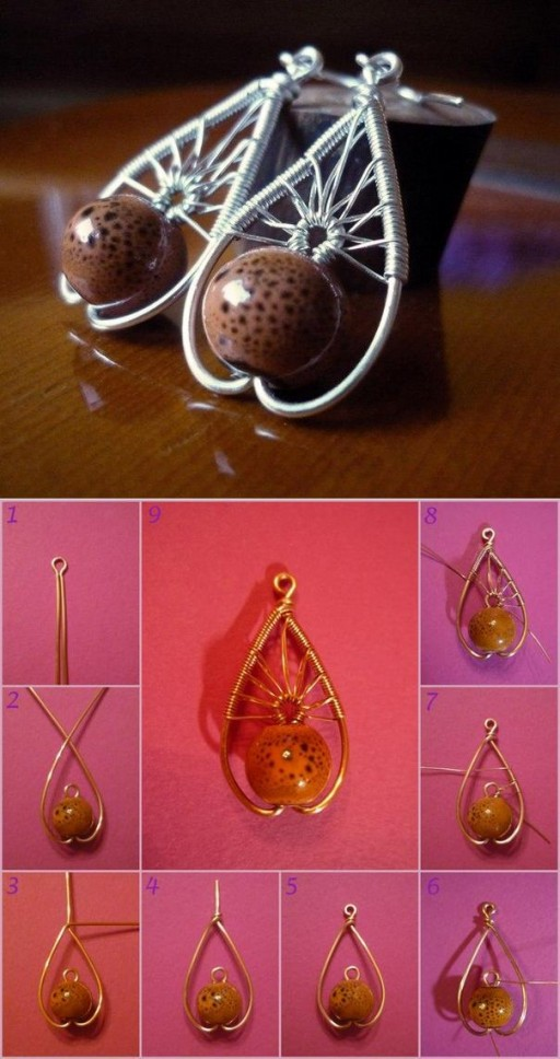 How to make Beautiful Wire Pendant step by step DIY tutorial instructions