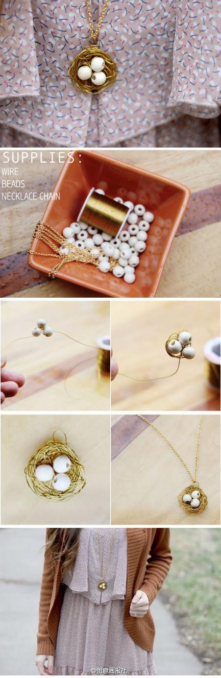 How to make Bird Nest Necklace step by step DIY tutorial instructions