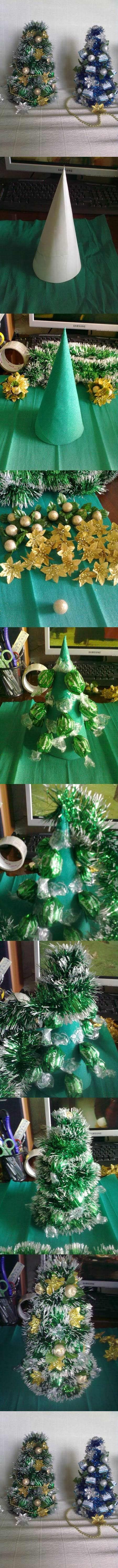 How to make Candy Christmas Trees step by step DIY tutorial instructions