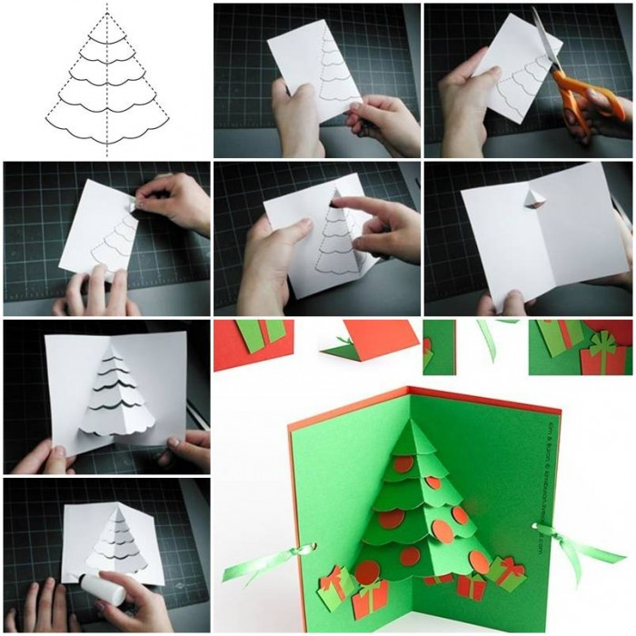 How to make Christmas Tree Pop Up Card step by step DIY tutorial instructions thumb – How To ...