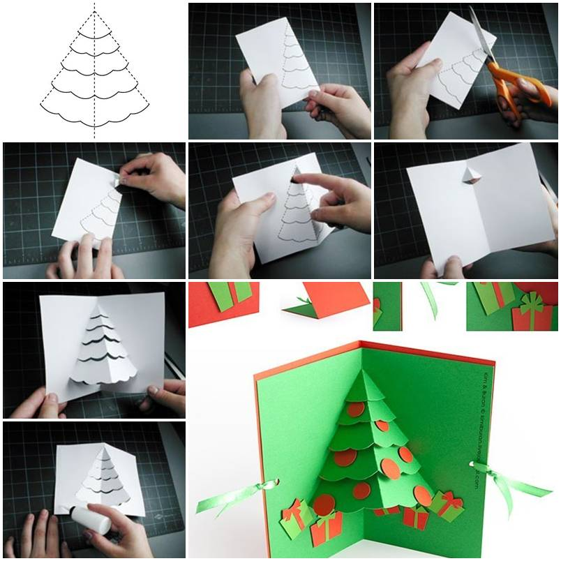 How to make Christmas Tree Pop Up Card step by step DIY tutorial