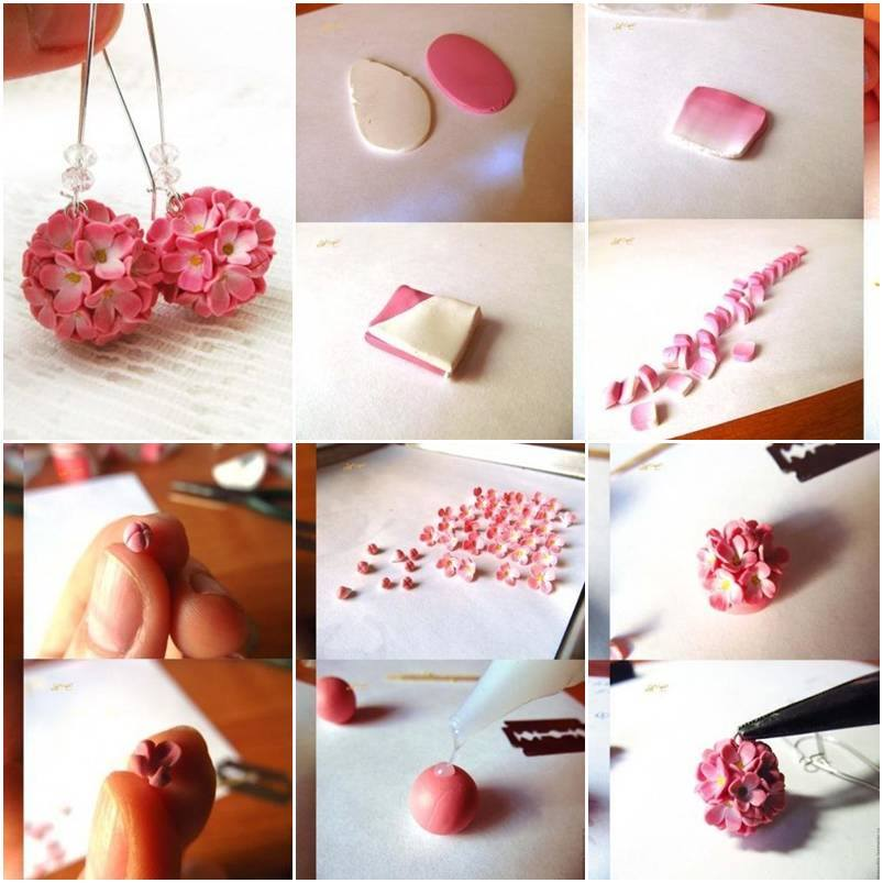 How to make delicate flower earrings step by step diy for Flower making at home