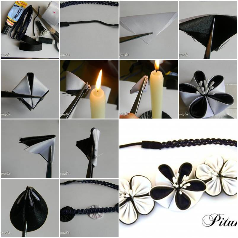 How to make dual color ribbon flower step by step diy for Flower making ideas step by step