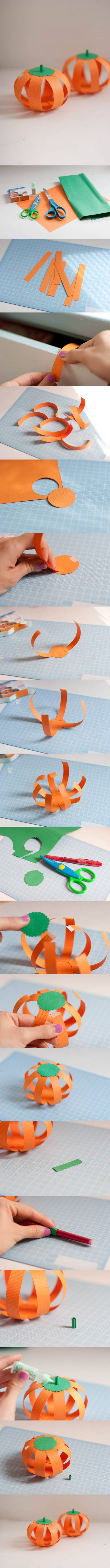 How to make Paper Halloween Pumpkin step by step DIY tutorial instructions