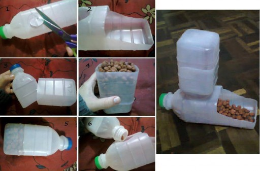 How to make Plastic Bottle Pet Feeder step by step DIY tutorial instructions thumb