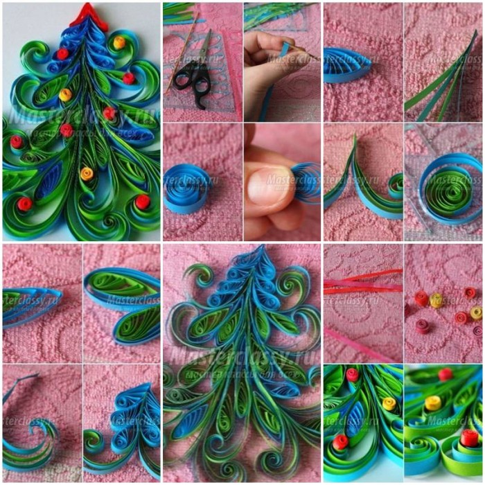 How to make quilled christmas tree card making projects for Christmas tree cards to make
