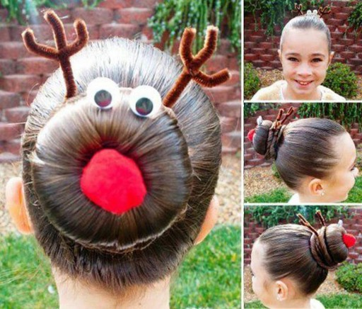 How to make Rudolph the reindeer bun holiday hairstyles step by step DIY tutorial instructions