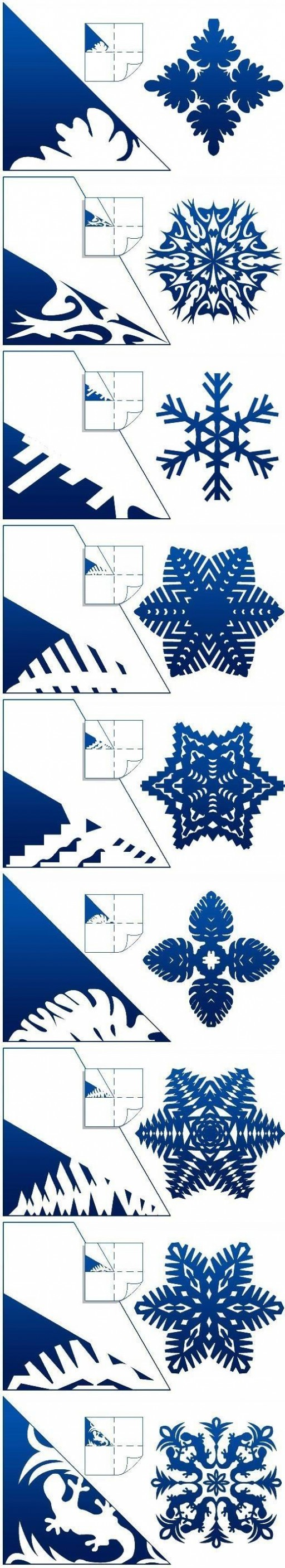 How to make Schemes of Paper Snowflakes step by step DIY tutorial instructions