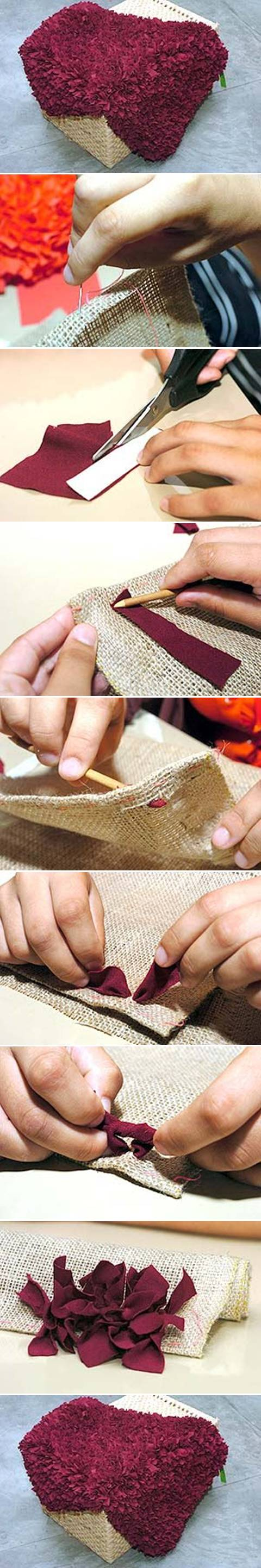 How to make Scrap Fabric Rug step by step DIY tutorial instructions