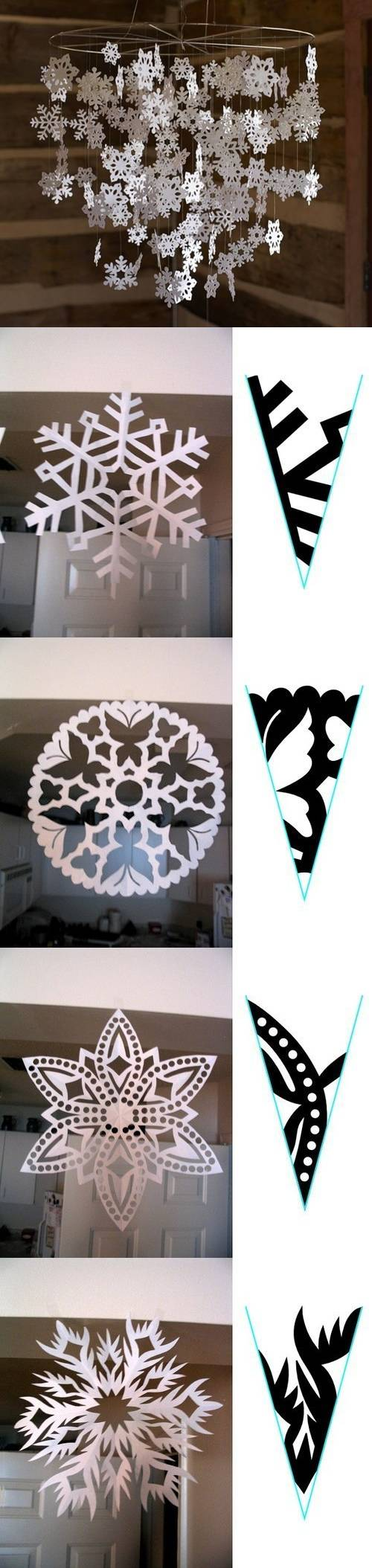 How to make Snowflake Paper Pattern step by step DIY tutorial instructions