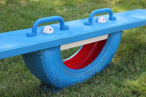 How to make a kids totter with used car tires step by step DIY tutorial instructions