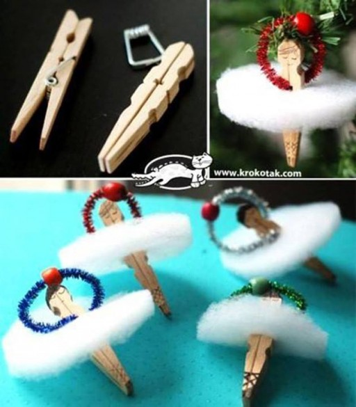 How to make adorable clothes pin ballerina ornaments step by step DIY tutorial instructions