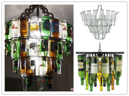 How to make amazing chandelier lighting fixture with beer or wine bottles step by step DIY tutorial instructions