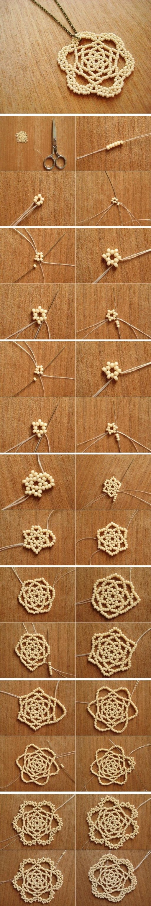 How to make beads or Pearls Flower Pendant step by step DIY tutorial instructions