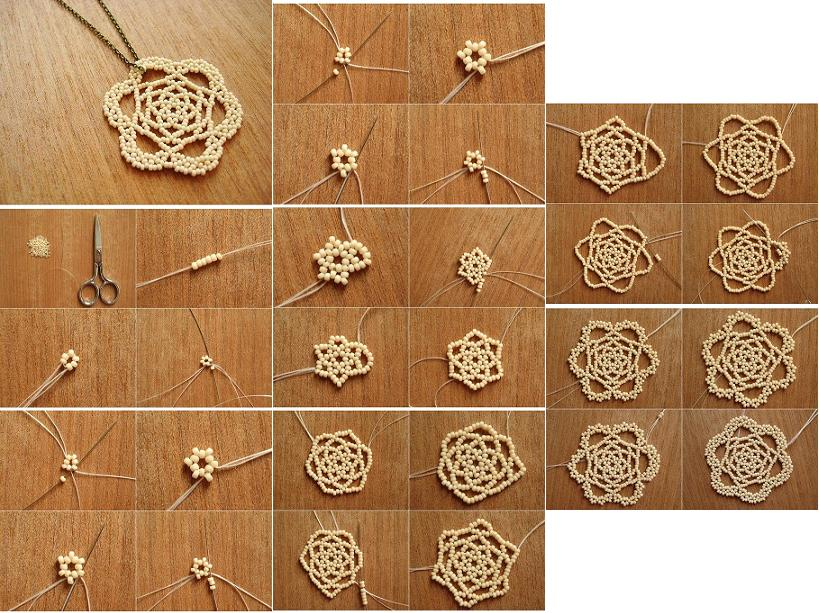 How to make beads or pearls flower pendant step by step diy tutorial how to make beads or pearls flower pendant step by step diy tutorial instructions thumb aloadofball Image collections
