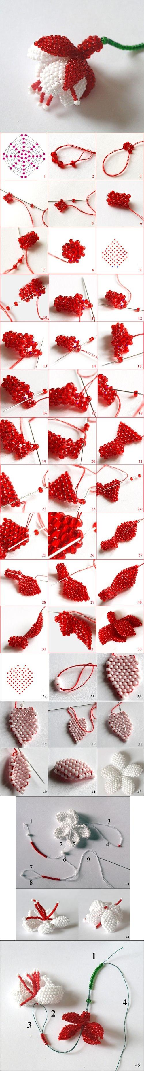 How to make beads or Pearls Fuchsia Flower step by step DIY tutorial instructions