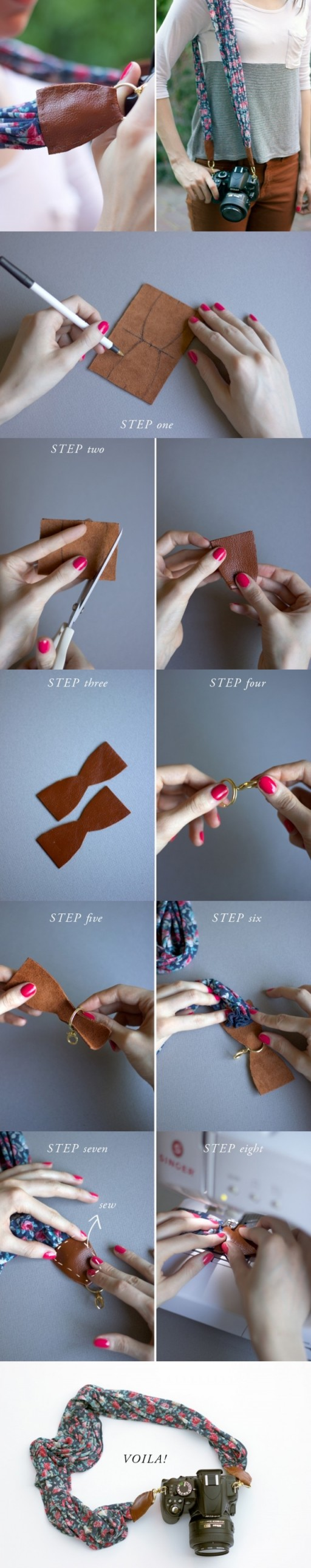 How to make beautiful camera strap from a Laura Ashley scarf step by step DIY tutorial instructions