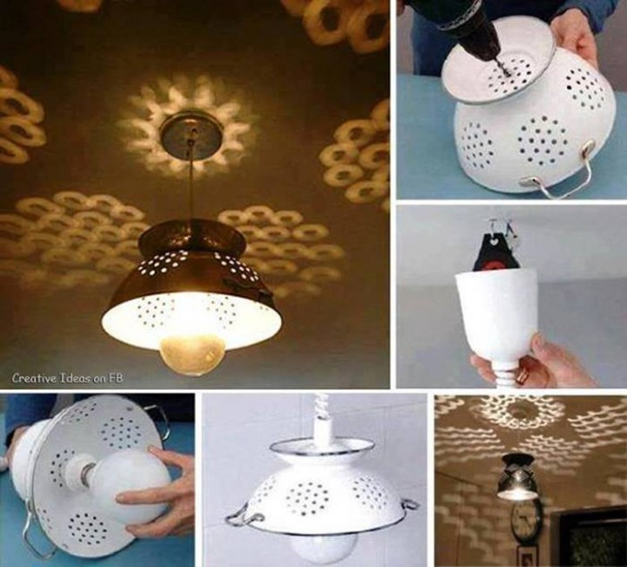 How to make beautiful colander lighting fixtures step by for How to make a light fixture