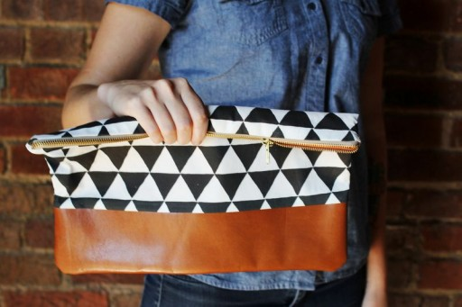 How to make beautiful cotton & leather clutch purse step by step DIY tutorial instructions