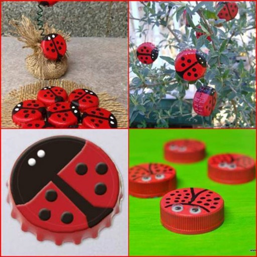 How to make beautiful decorative ladybugs with bottle caps step by step DIY tutorial instructions