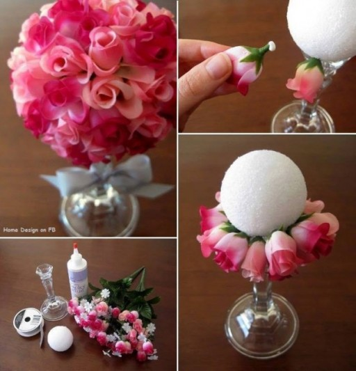 How to make beautiful paper rose flower ball bouquet step by step DIY tutorial instructions