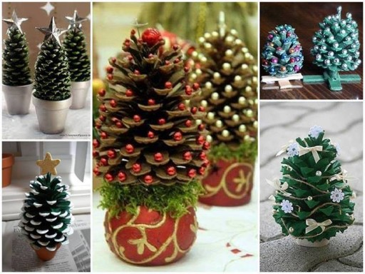 How to make beautiful pine cone X'mas tree decorations step by step DIY tutorial instructions