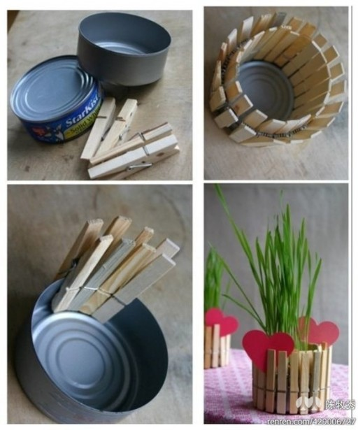 How to make beautiful planting pot with cans and clips step by step DIY tutorial instructions