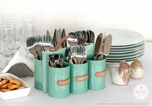 How to make cans and wood storage holder of cutlery step by step DIY tutorial instructions 2