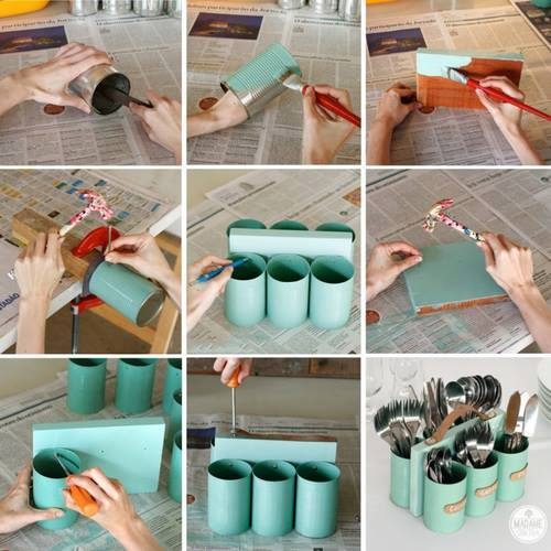 How to make cans and wood storage holder of cutlery step by step DIY tutorial instructions