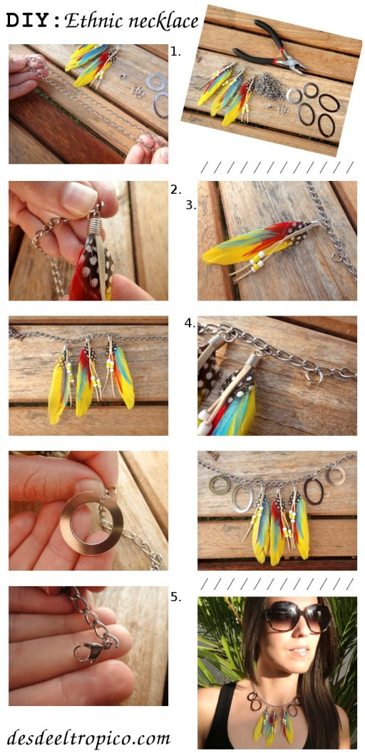 How to make cool exotic ethnic necklace step by step DIY tutorial instructions