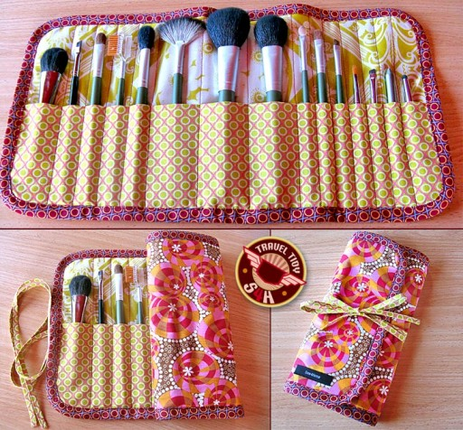 How to make cool roll-up makeup brush case step by step DIY tutorial instructions
