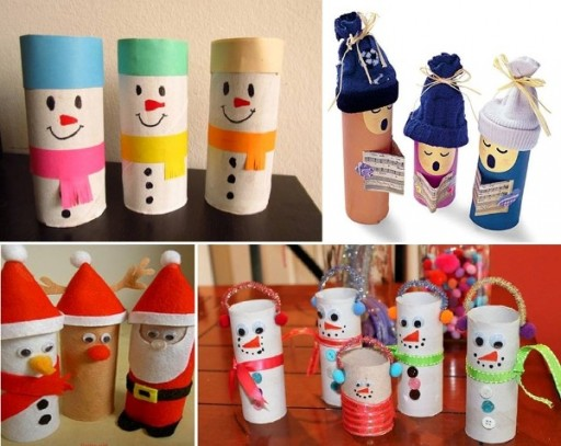 How to make cute X'mas decoration with toilet paper rolls step by step DIY tutorial instructions