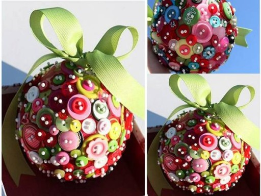 How to make cute X'mas pendant balls with buttons step by step DIY tutorial instructions