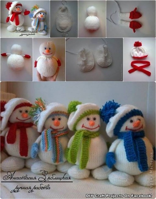 How to make cute snowman dolls with winter hats step by step DIY tutorial instructions