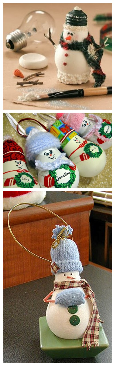 How to make cute snowman with dead light bulbs step by step DIY tutorial instructions