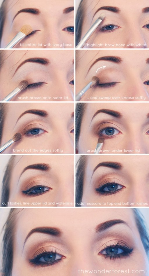 How to make everyday neutral smokey eyes makeup step by step DIY tutorial instructions