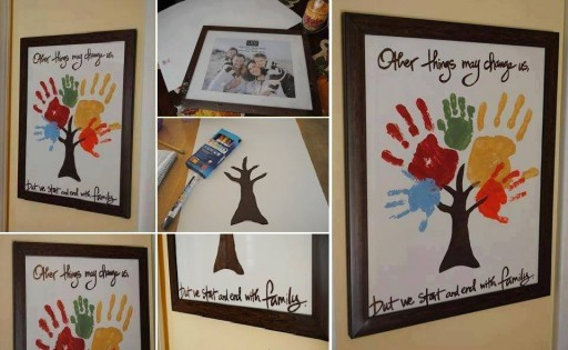 How to make family hand print tree wall art step by step DIY tutorial instructions