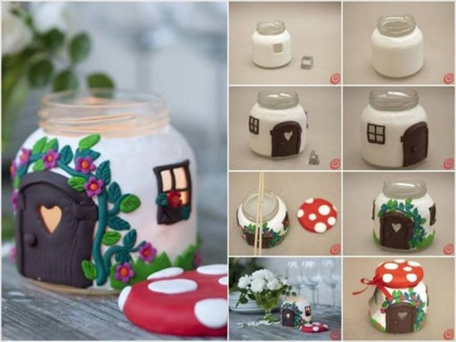How to make mushroom house candle jar step by step DIY tutorial instructions