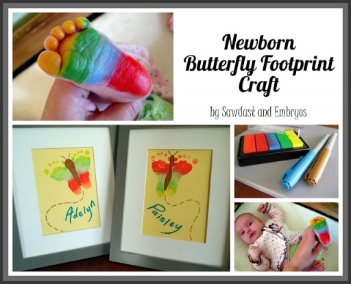 How to make newborn butterfly footprint craft step by step DIY tutorial instructions