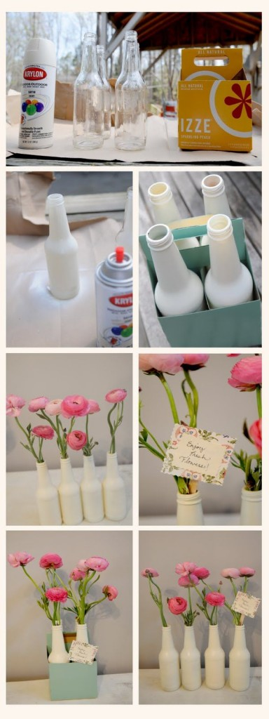 How to make pretty blass bottle vases step by step DIY tutorial instructions