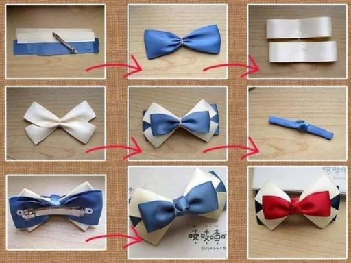 How to make pretty bow tie hair pin step by step DIY tutorial instructions