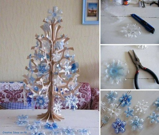 How to make pretty christmas tree with plastic bottles step by step DIY tutorial instructions