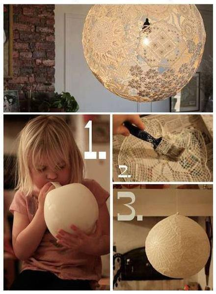 How to make pretty lace lamp lighting step by step DIY tutorial instructions