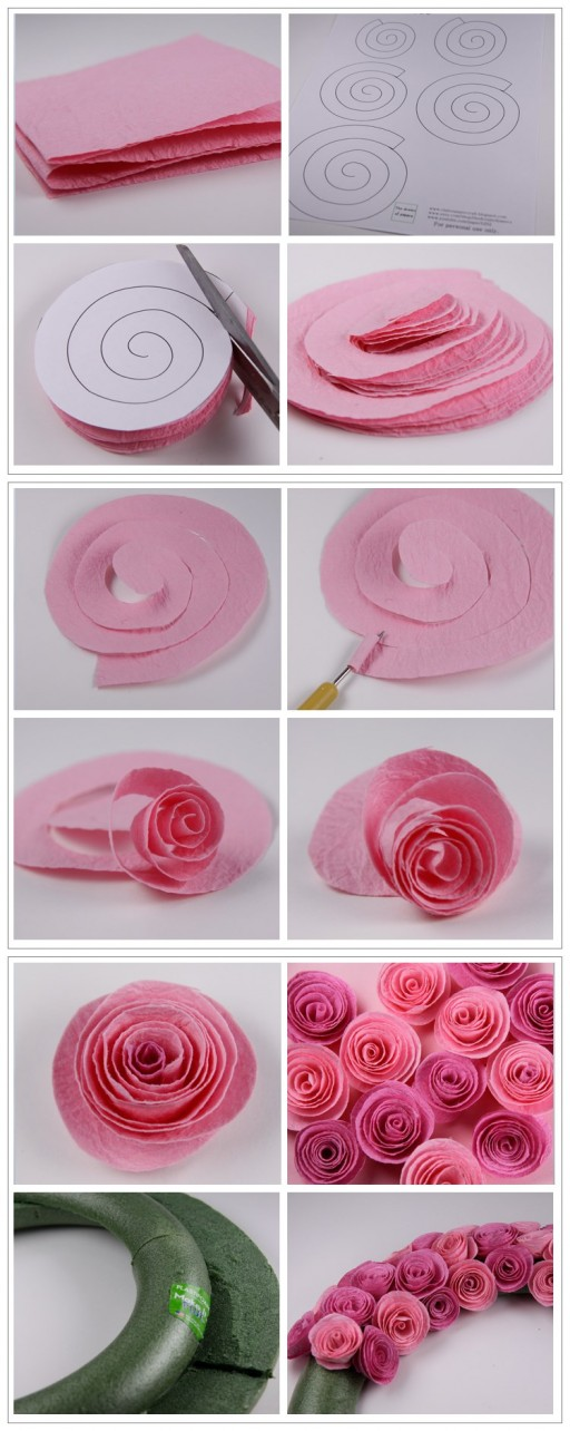 How to make pretty rose wreath step by step DIY tutorial instructions