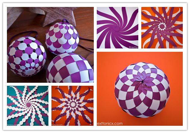 How to make pretty woven paper baubles step by step DIY tutorial