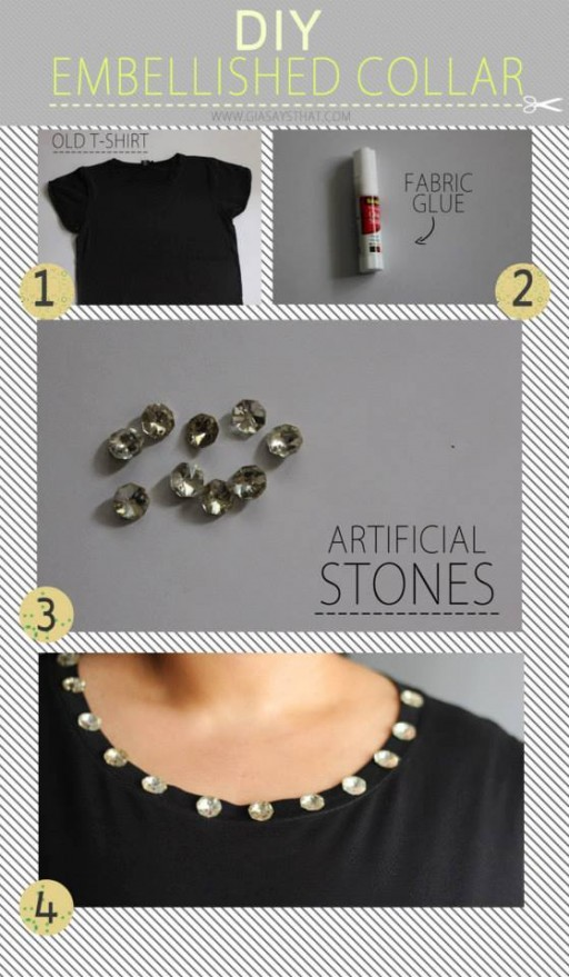 How to make quick embellished collar step by step DIY tutorial instructions