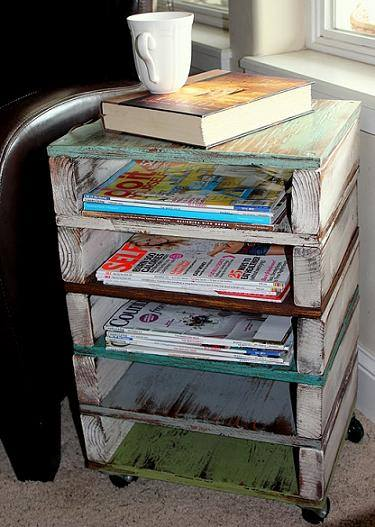 How to make rolling along side table and storage racks with used pallets step by step DIY tutorial instructions