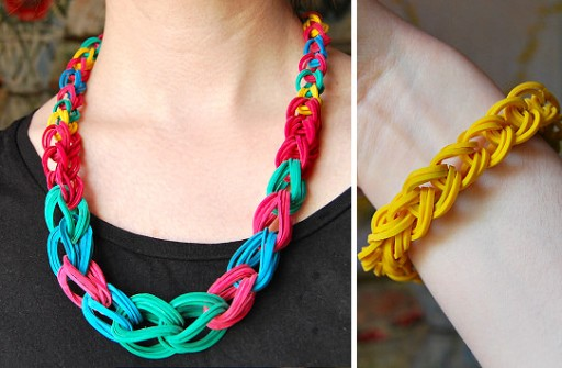 How to make rubber band chain necklace or wristband step by step DIY tutorial instructions